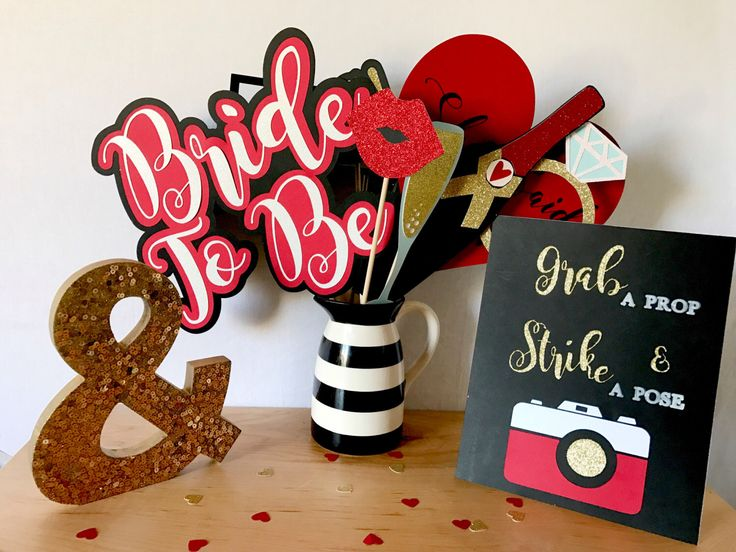 Red bridal shower Photo Booth props | Bridal Shower Photo Booth Props | Red and gold wedding | red and silver wedding | red and gold bridal shower | red and silver bridal shower | Photo Booth Props | red and black wedding | Valentine's Day wedding decorations