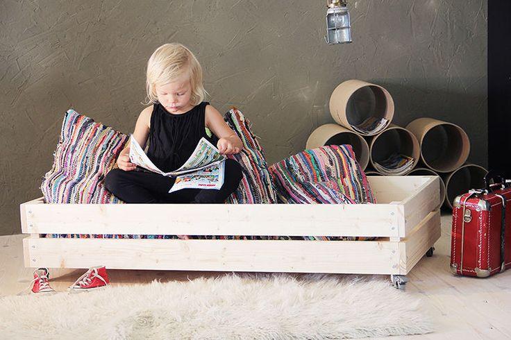 lastensänky kalustepyörillä, lautasänky, Luona In
