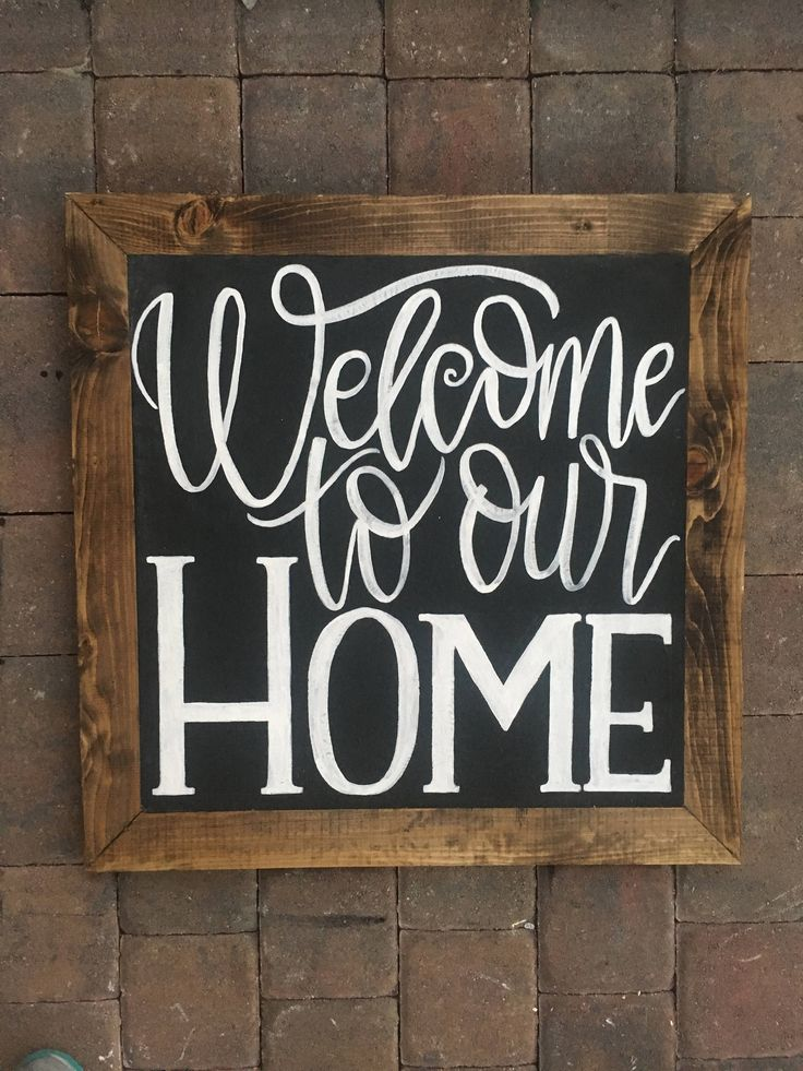 Welcome To Our Home Wood Sign | Modern Farmhouse Calligraphy Lettering | Chalkboard Art by JridDesigns on Etsy