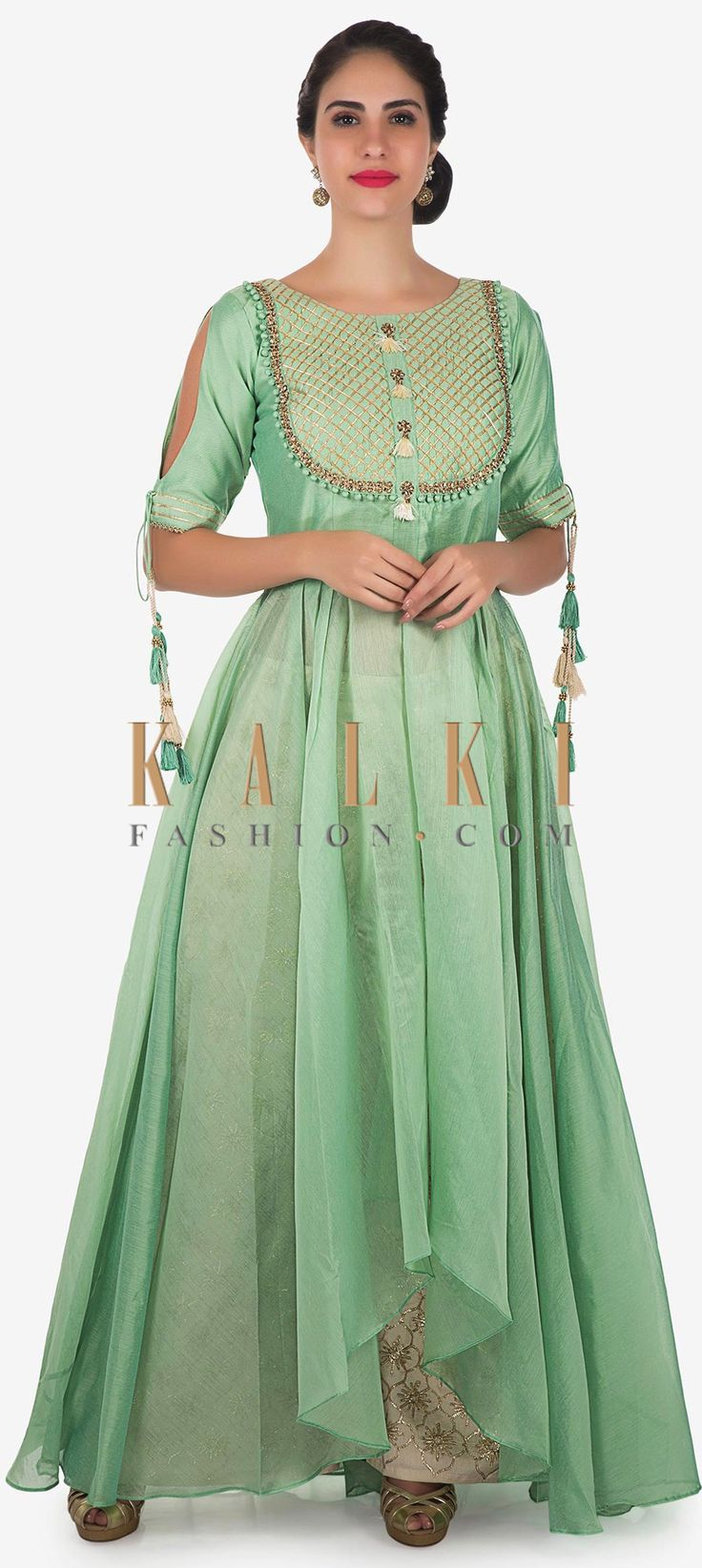 Buy Online from the link below. We ship worldwide Click Anywhere to Tag Pista green anarkali suit in cotton silk with gotta lace embroidered bodice only on Kalki  Pista green anarkali suit featuring in cotton silk. Placket is embellished in gotta lace and kundan and sequin embroidery. Matched with cream pant and net dupatta in lurex border. Slight variation in color is possible.
