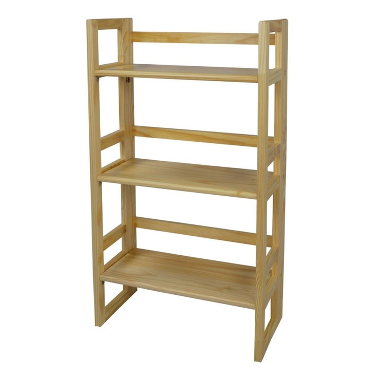 3-Tier Stackable Mission Style Folding Bookcase (21