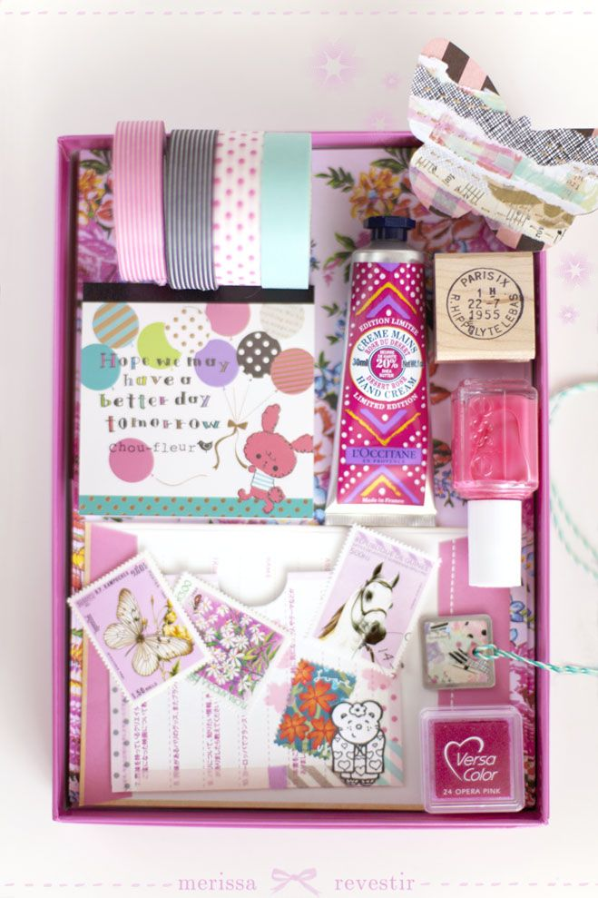 Love the idea of a little box of fun things in a favorite color scheme.