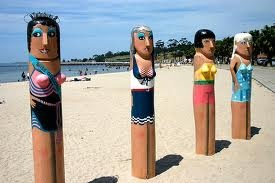 Beach babes. Bollards by Jan Mitchell. Geelong, Australia.