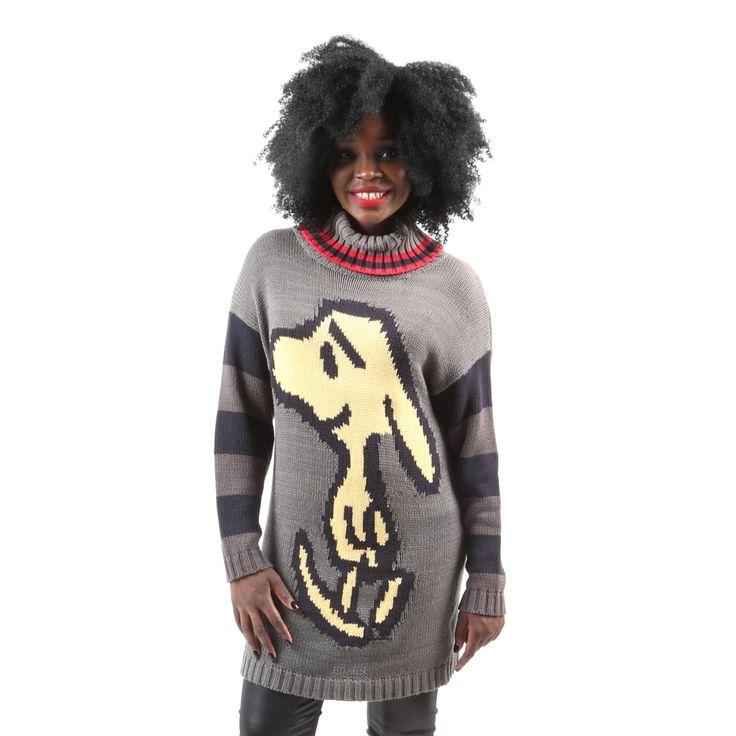 Hadari Women's Long Sleeve Knitted Snoopy Character Turtleneck Sweater