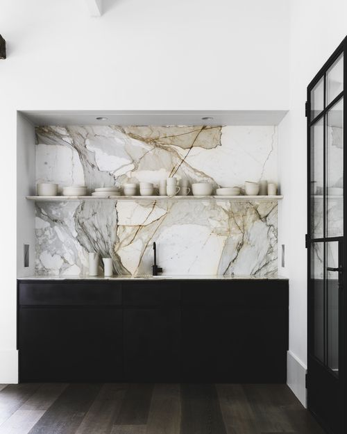 black x white x marble kitchen.