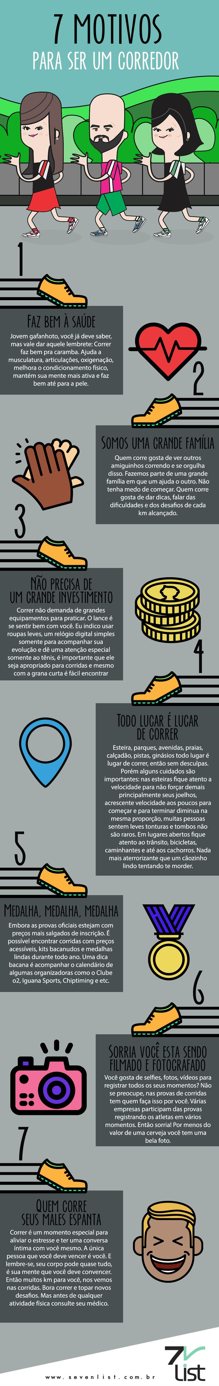 Uma verdadeira maratona de atletas amadores aumenta a cada ano e você aí com vontade de fazer parte, mas tem medo de começar. Então estique o esqueleto e vamos lá. #SevenList #Lista #Infográfico #Art #Design #Fit #Fitness #Correr #Run #Runner #Workout #Exercise #Corrida #Motivosparacorrer