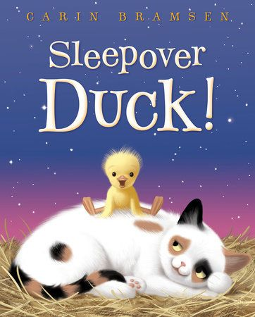 Two friends who never tire of encouraging one to be more like the other are returning for another delightful adventure.  They met in Hey Duck! (Random House, January 22, 2013) and returned in a companion title, Just a Duck? (Random House, January 27, 2015).  Sleepover Duck! (Random House, January 2, 2018) written and illustrated by Carin Bramsen is sure to have you smiling from beginning to end.