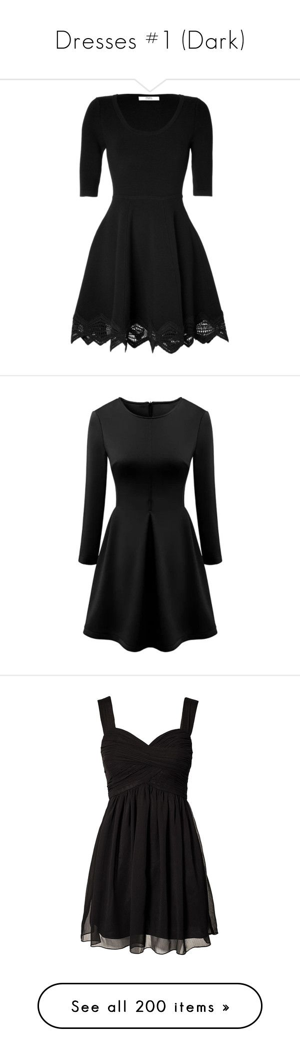 """Dresses #1 (Dark)"" by angiemx ❤ liked on Polyvore featuring dresses, vestidos, short dresses, black dresses, mini dress, sheath dress, elbow sleeve dress, zig zag dress, half sleeve dresses and robes"