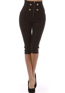 Broad Minded Clothing - Black High Waist Military Sailor Style Capri Pants with Button Details