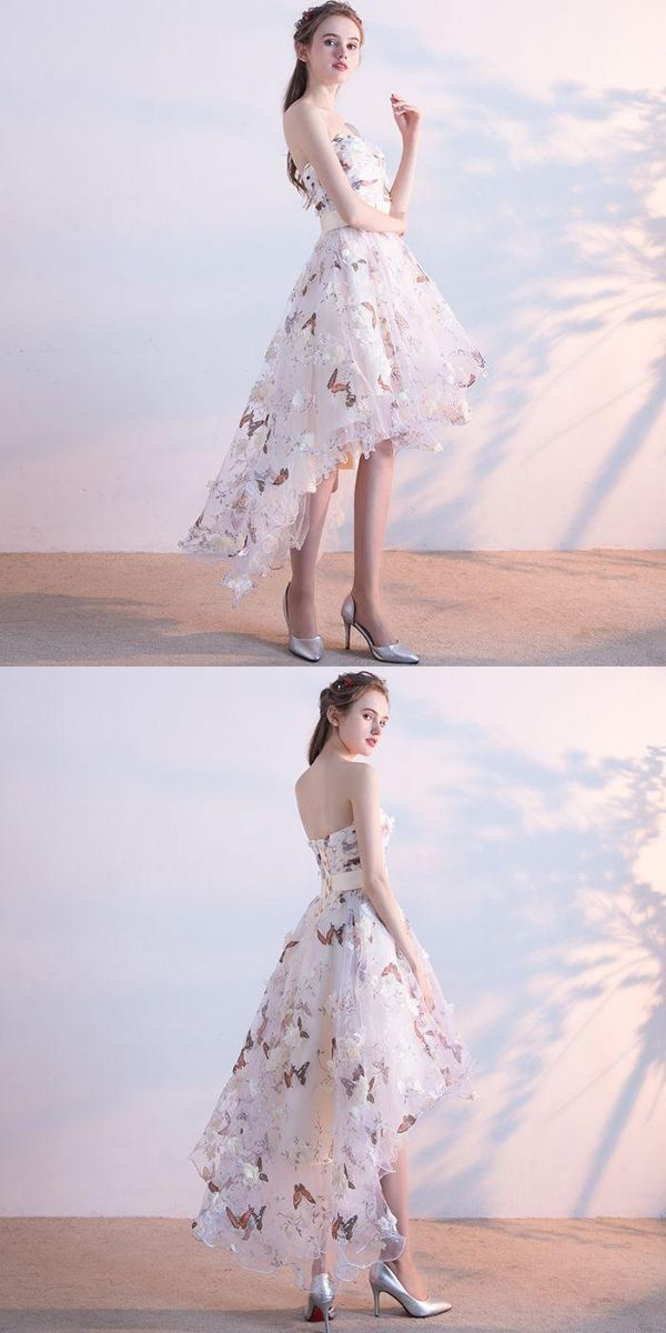 1114d051454 Sexy White A-Line Strapless Homecoming Dresses With Appliques ...