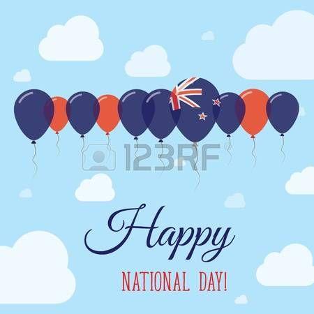 Cartel patriótico plano del día nacional de Nueva Zelanda. Fila de globos en colores de la bandera de Nueva Zelanda. Feliz día nacional tarjeta con banderas, globos, nubes y cielo.