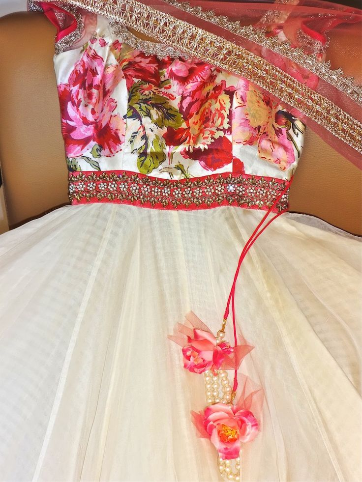 Pink floral (bust) and white long salwaar kameez