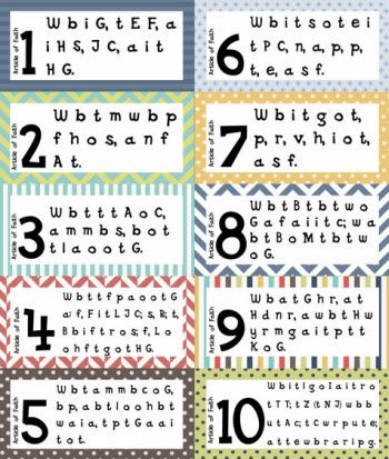 Love these Articles of Faith Memorization Cards!   Just printed them and cut them out for my girls today.   These would be perfect for Activity Days as well!
