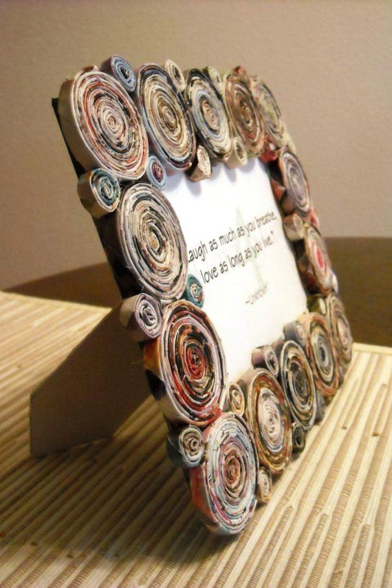Recycled Magazine Picture Frame, great Christmas gift for the grandparents