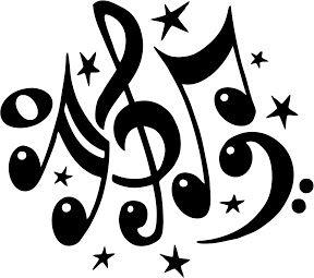 Notas musicales para imprimir , Dibujos de notas musicales en blanco y negro  para decorar ejercicios para las clases de música o personali...
