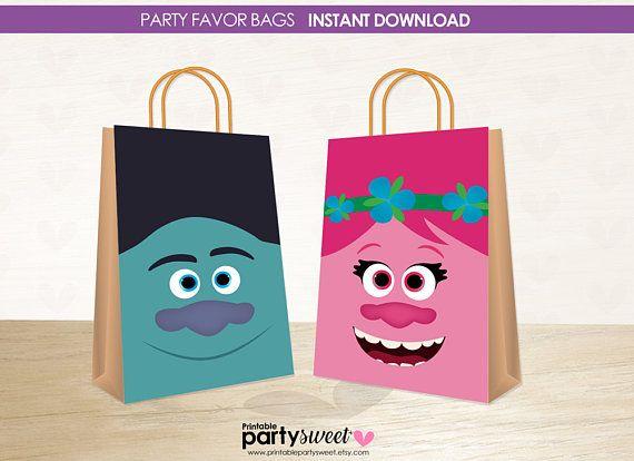 Trolls Birthday Favor Bags Trolls Gift Bags Trolls Party