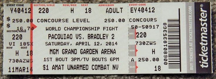 BOXING MANNY PACQUIAO VS BRADLEY 2 ORIGINAL USED TICKET APRIL 12 2014 CHAMPION