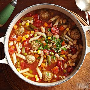 Packaged meatballs make light work of this bean, vegetable, and pasta soup recipe that can be ready to serve in less than 30 minutes.