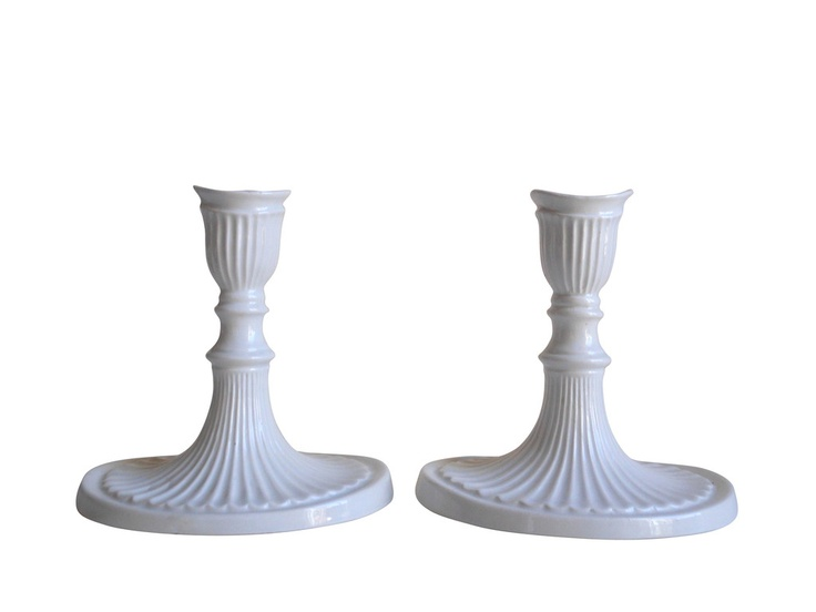 Italian White Candlesticks, Pair
