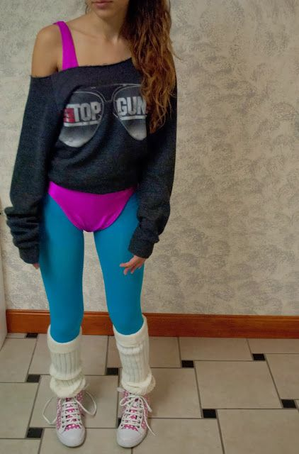 80's workout girl Halloween costume made of stuff you probably already have laying around your house