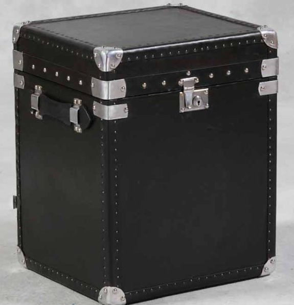 Black Leather Trunk - £365.00 - Hicks and Hicks