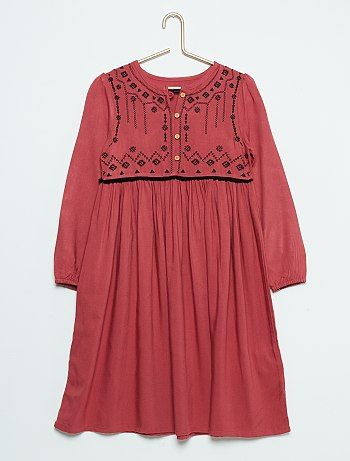 Vestido em viscose                                         rojo Menina 3-12 anos   - Kiabi
