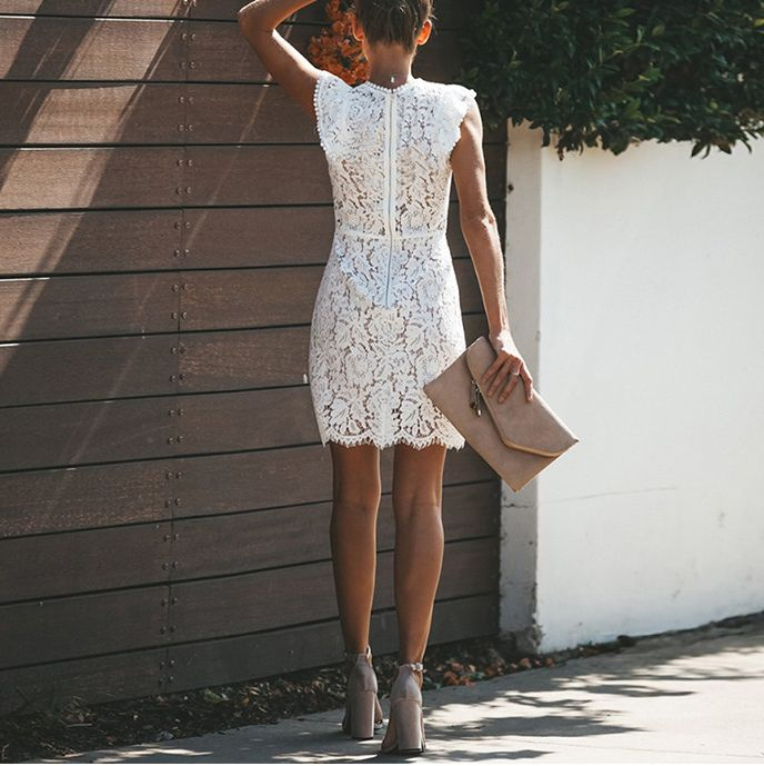 Casual Sexy Hollow Out Lace Splicing Bodycon Dresses – Chicokay 9