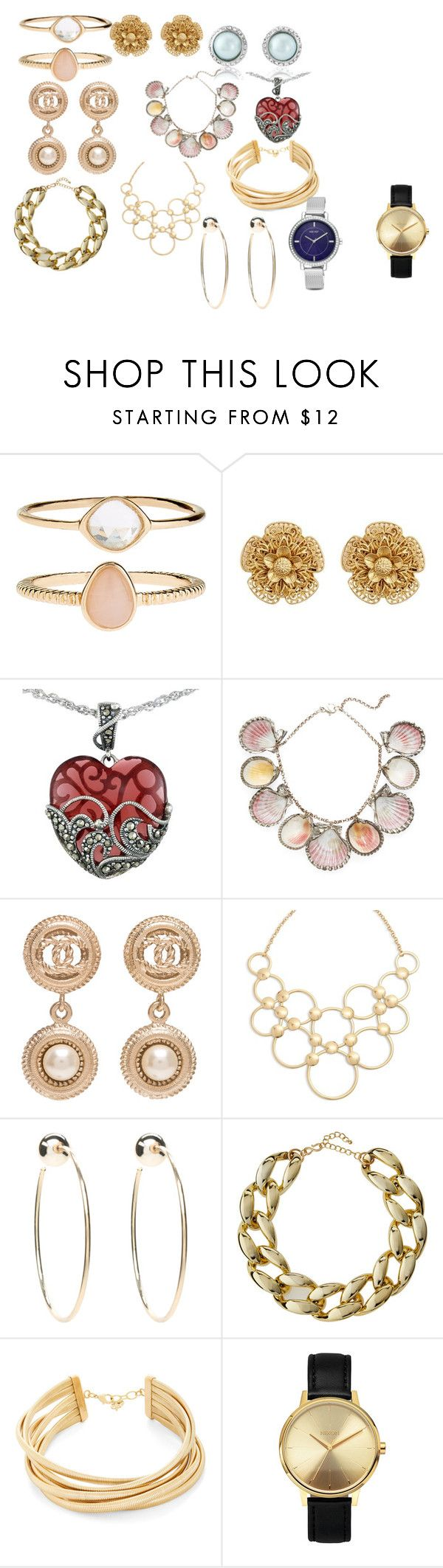 """Украшения для мягких черт лица."" by olivia80-1 on Polyvore featuring Accessorize, Miriam Haskell, Lord & Taylor, Paolo Costagli, Chanel, Vera Bradley, Bebe, Kenneth Jay Lane, BCBGMAXAZRIA and Nixon"