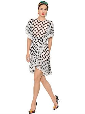 Shop Dolce & Gabbana Polka Dot Ruffled Silk Voile Dress at Modalist