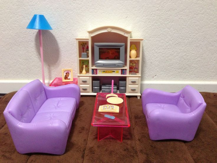 AmazonSmile Barbie Size Dollhouse Furniture Living Room With TV DVD Set Show