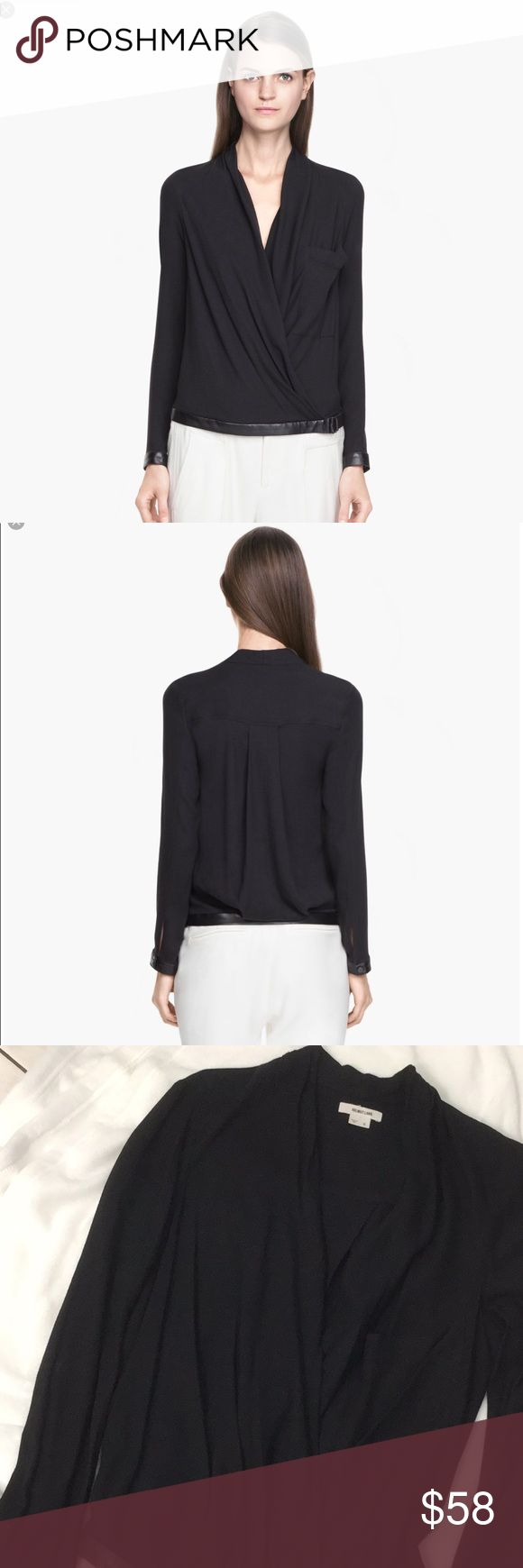 Helmut Lang Women's Black Morse Front Drape Top Beautiful Chi Helmut Lang Top Wore a Couple of Time. Some Mininal Wear. Because I had a safety pin. Overall in Good Condition Been Dry Cleaned Tops