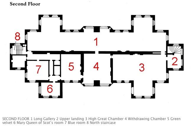 Mary Queen Of Scots >> Second Floor Plan with Key. | Hardwick Hall | Pinterest ...