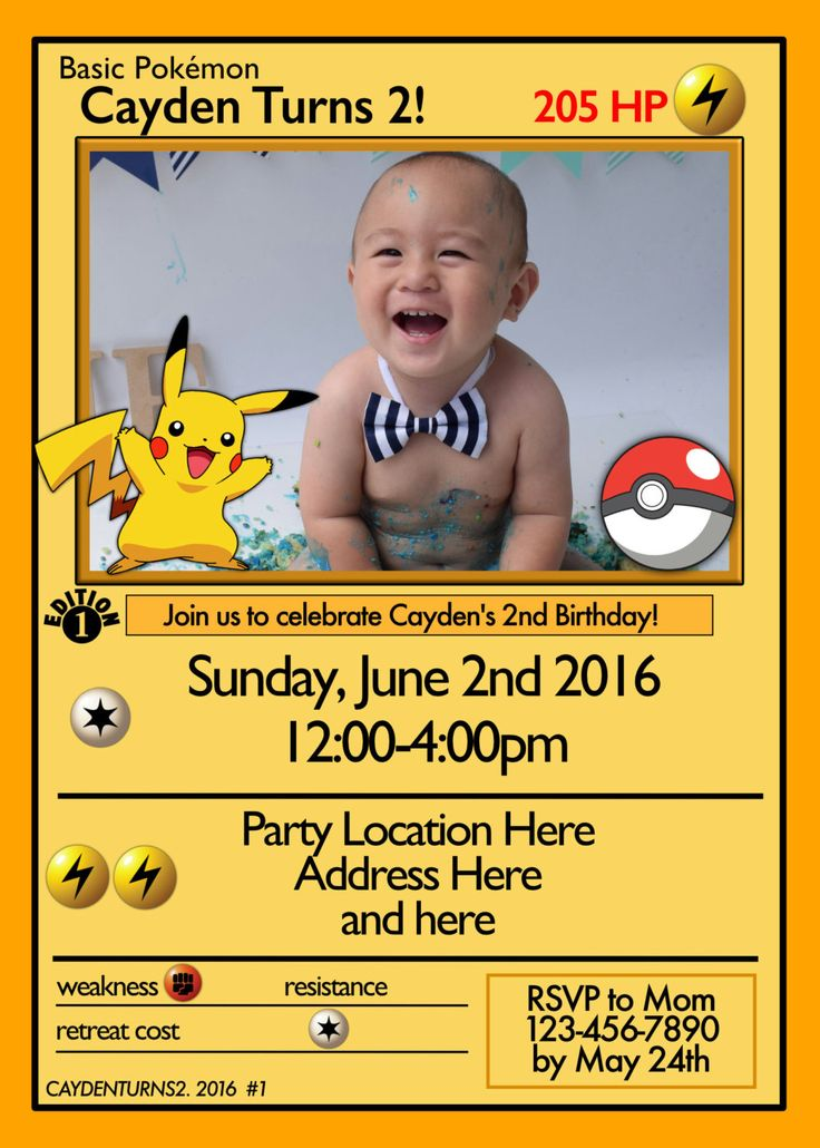 Pokemon Card Invitation by designsbyjayhawaii on Etsy https://www.etsy.com/listing/233956154/pokemon-card-invitation