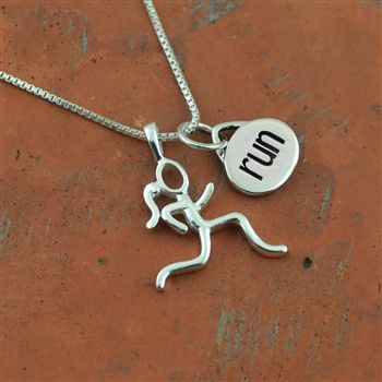 Sterling Silver Stick Figure Runner and Run Charm Necklace    Sterling Silver Running Jewelry