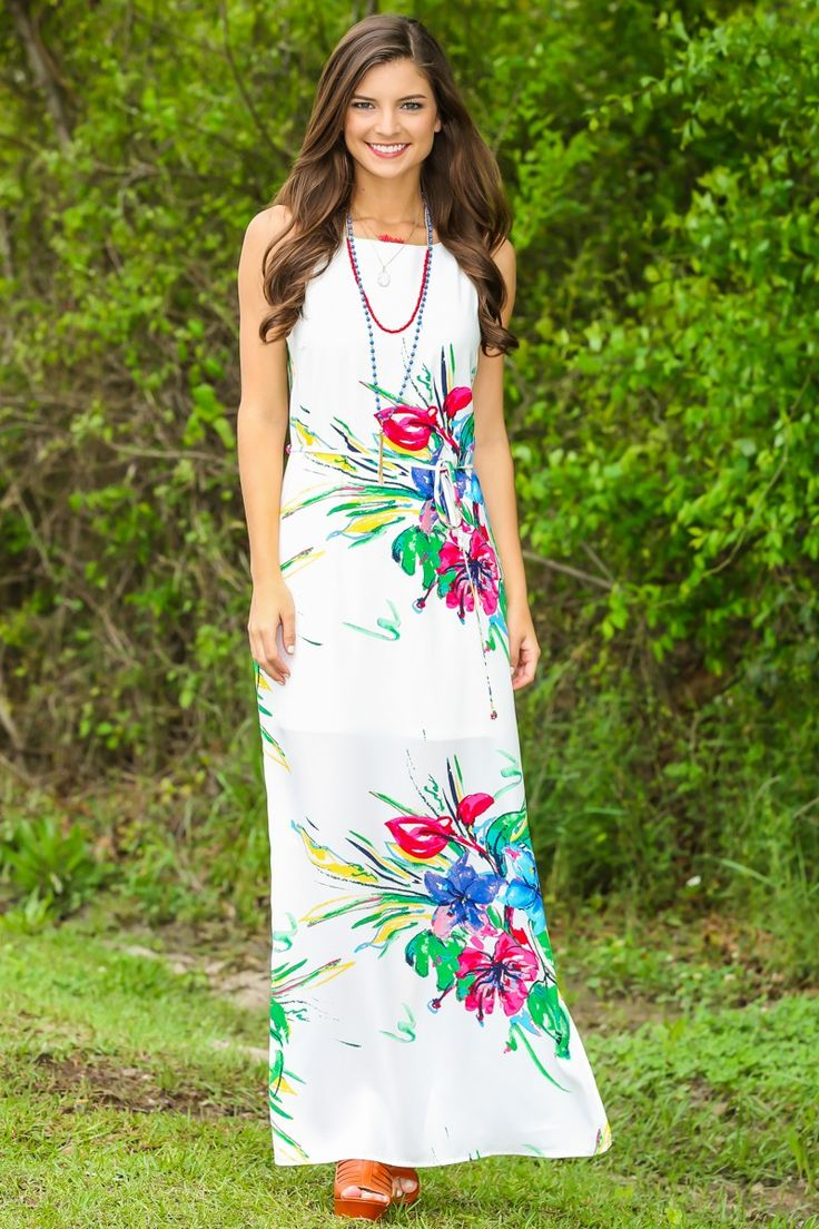 Heart Of The Tropics Maxi Dress-Ivory - Maxi Dresses - Dresses   The Red Dress Boutique