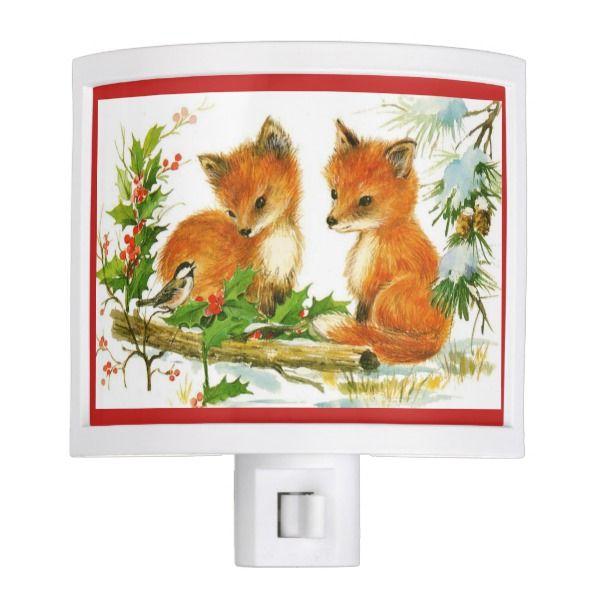 Christmas Nightlight Winter Baby Fox Night Lite #Custom #Christmas #Holiday #Night #Lights