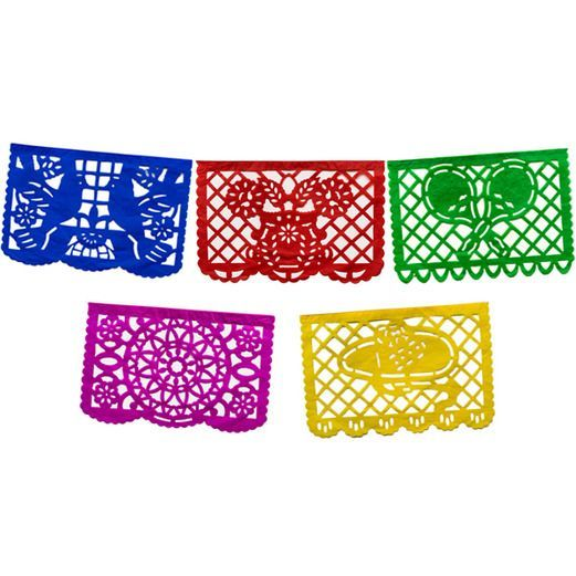 Large Papel Picado Banner- Multicolor. This site has tons of beautiful decorations for a fiesta.