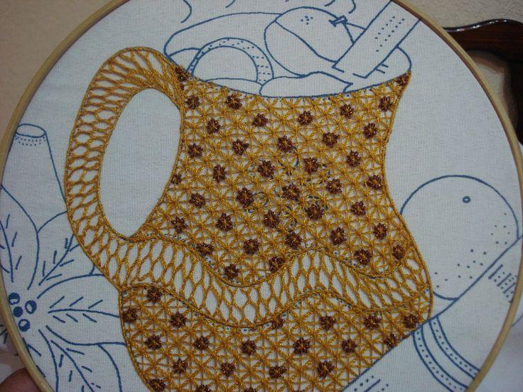 Knitting Embroidery Bordado : Bordado fantasia jarro ponche videos de