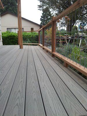 Welded Wire Deck Railing | New composite deck with cedar railing and welded wire in-fill | Yelp