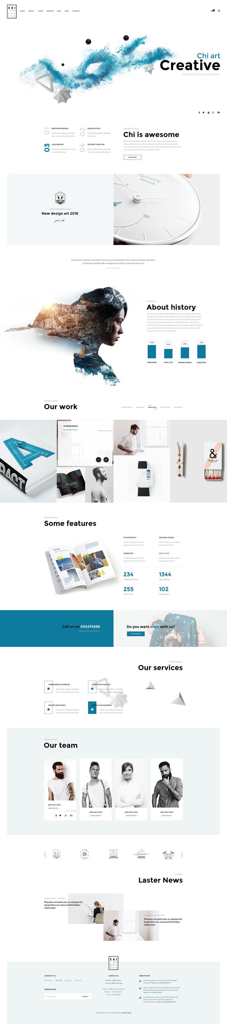 """CHI – Multipurpose PSD Template"" is modern, clean, multiple functions and professionally design web theme. It has 29 homepage layouts and 13 Online store layout Options! This template suits for any type of portfolio, creative, corporate, agency, bussines, design studio, fashions, photography, gallery photo, architecture, interior, Blog, shopping and more. #webdesign #psdtemplate #startups"