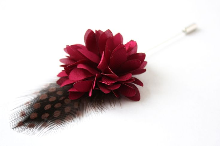 Flower and Feather Lapel Pin - Wedding Boutonniere - Magenta Dahlia Flower and guinea fowl feather - Dapper Men Wedding Groom by TheGreyDeer on Etsy