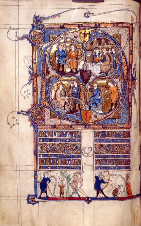 Full-page initial D of Psalm 26, showing scenes from 1 Samuel 20. Miniatures, illuminated title.
