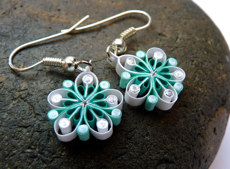 Small Earrings - Eco-friendly, quilled paper, Summer flowers, via Etsy.