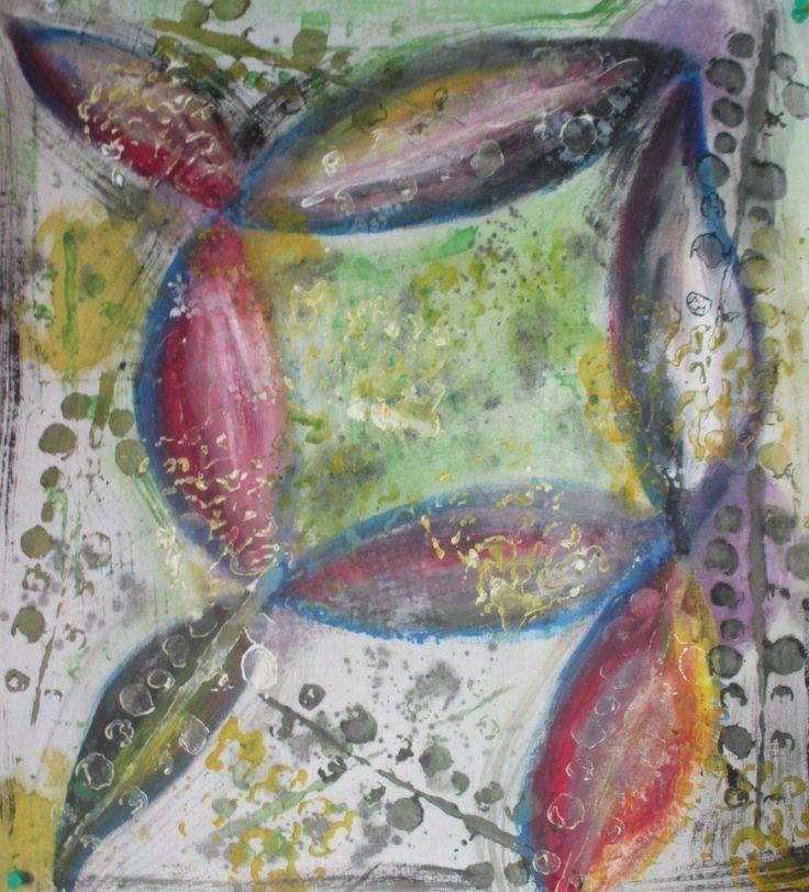 Tecido pintado à mão 50 cmx 50cm.  Serie ZEN