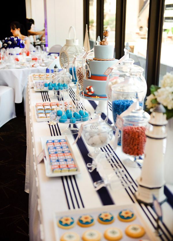 Nautical Party: Theme Parties, Nautical Christening, Parties Ideas, Parties Tables, Nautical Theme, Desserts Tables, Nautical Parties, Baby Shower, Parties Accessories