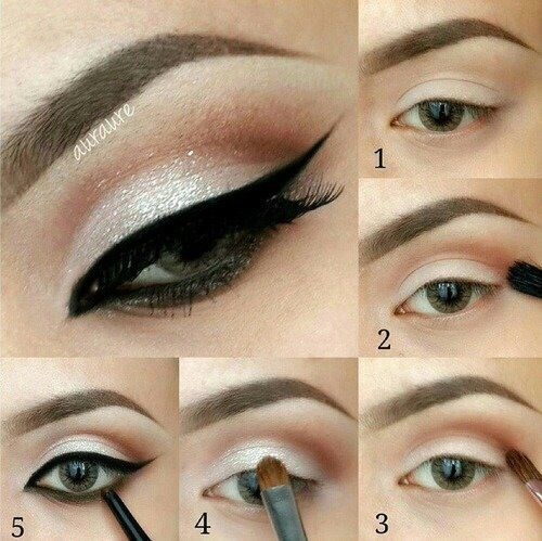 Pretty make up look with cut crease and dramatic eyeliner