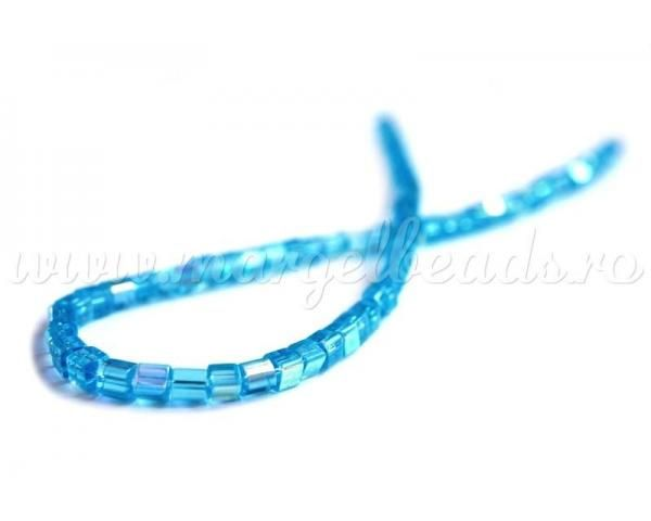 Blue Glass Beads 4x4mm - www.margelbeads.com