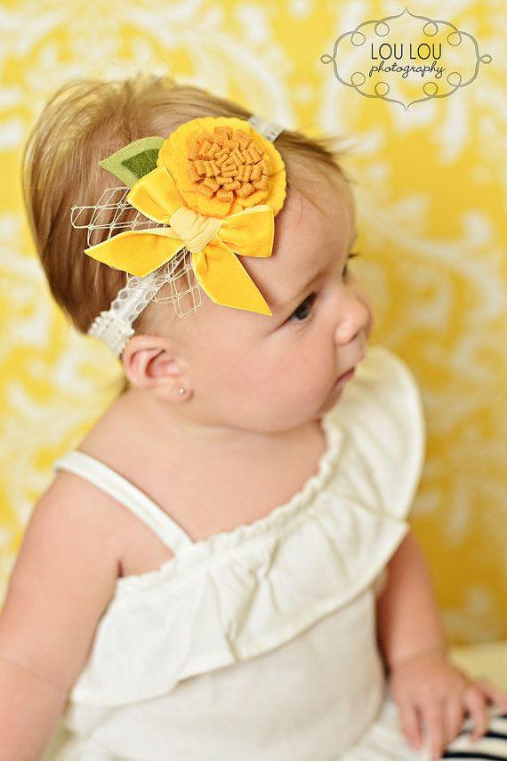 Yellow Baby Headband Felt Girls Headband by LittleDivaBoutique, $14.00