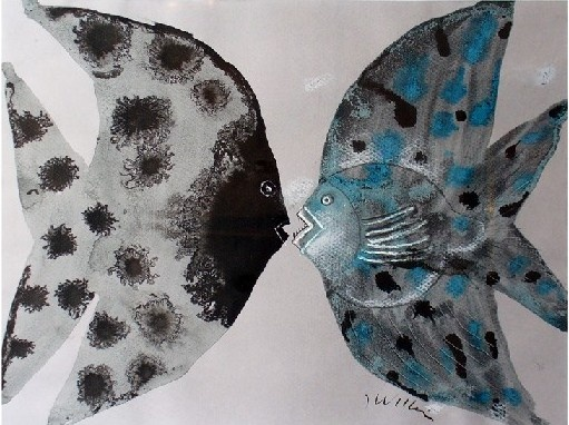 Fish by Józef Wilkoń. Ink, pastel.