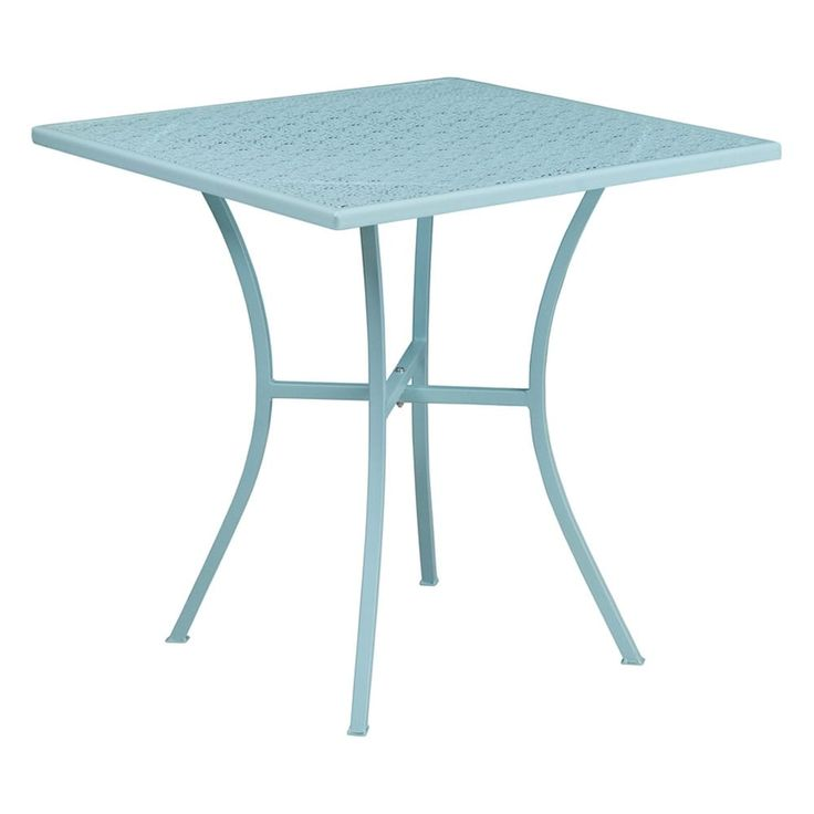 Offex 28'' Square Sky Blue Indoor-Outdoor Steel (Silver) Patio Table, Patio Furniture